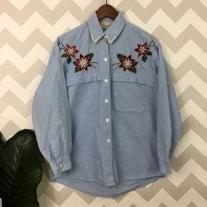 Vintage ugly Christmas top poinsettia button up